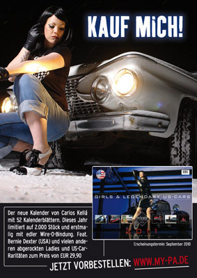 Xarah is in the new Zillo Gothic Fetisch calender 2011 and the new week calendar Girls & legendary US cars