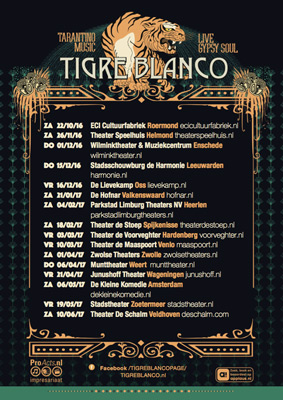 "Xarah is performing with the amazing Tigre Blanco during their ""Tijgersnest"" tour"